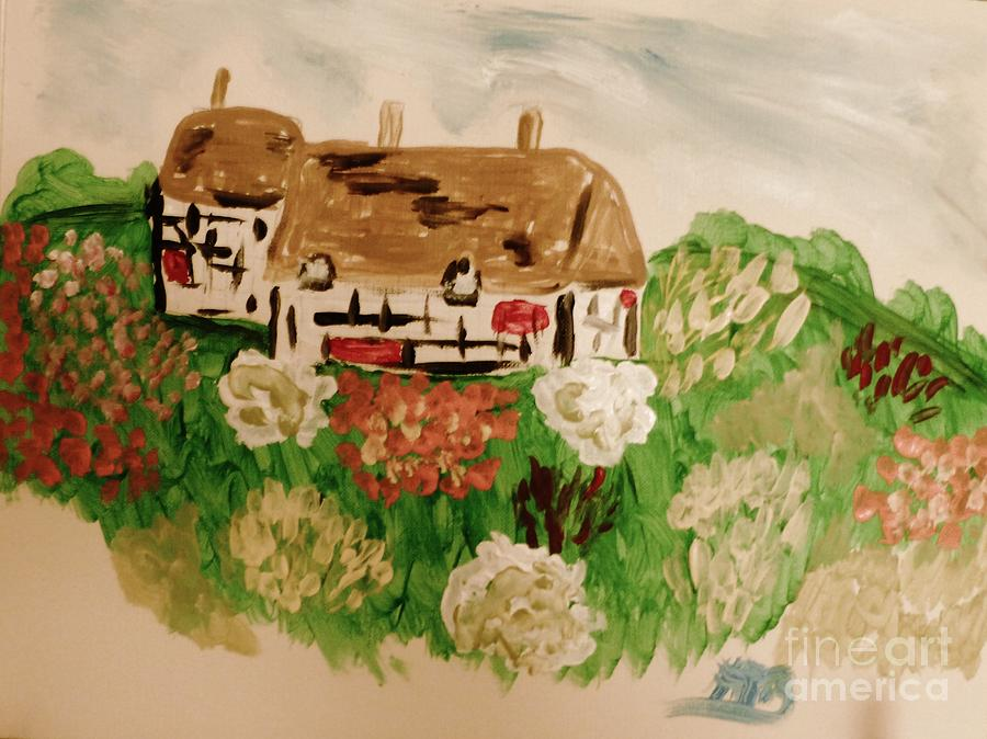 Thatch Roof Painting - A Country Scene by Marie Bulger