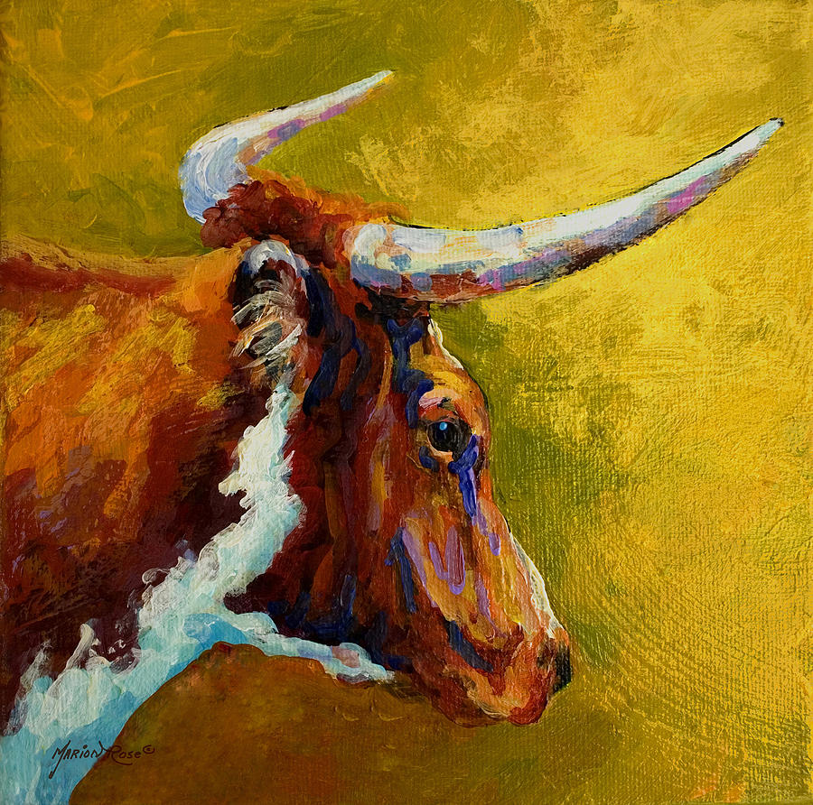 A Couple Of Pointers - Longhorn Steer Painting by Marion Rose