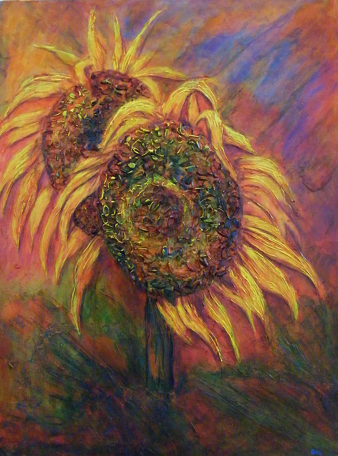 Bright Painting - A Couple Of Sunflowers by Gail Sawatzky