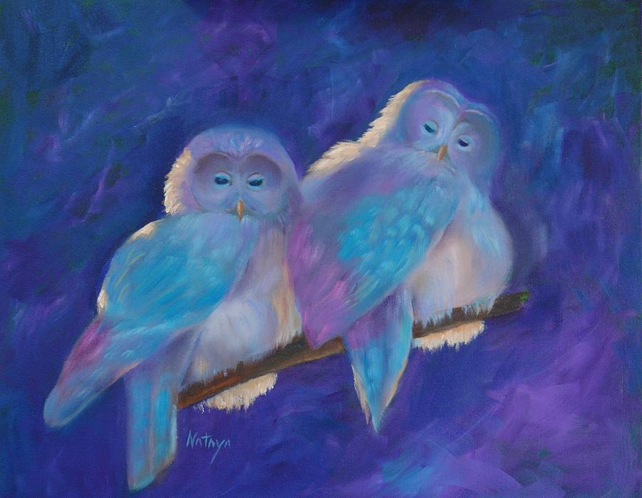Owls Painting - A Couple Of Wise Guys by Nataya Crow