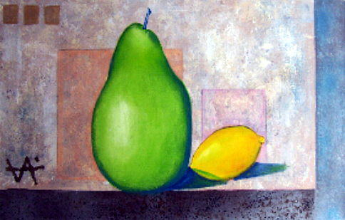 Lemon Painting - A Couple by Osvaldo Chacon