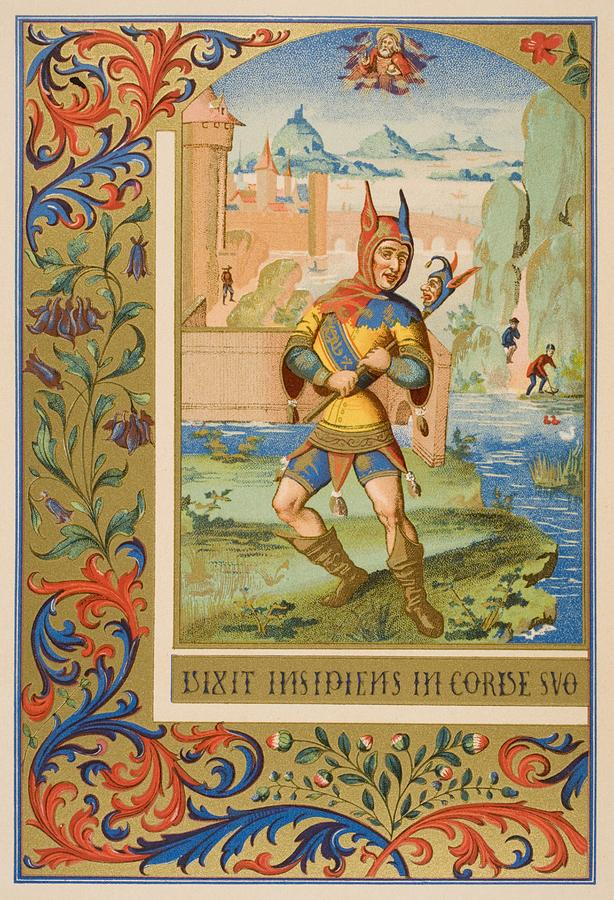 Fool Drawing - A Court Fool Of The 15th Century. 19th by Vintage Design Pics