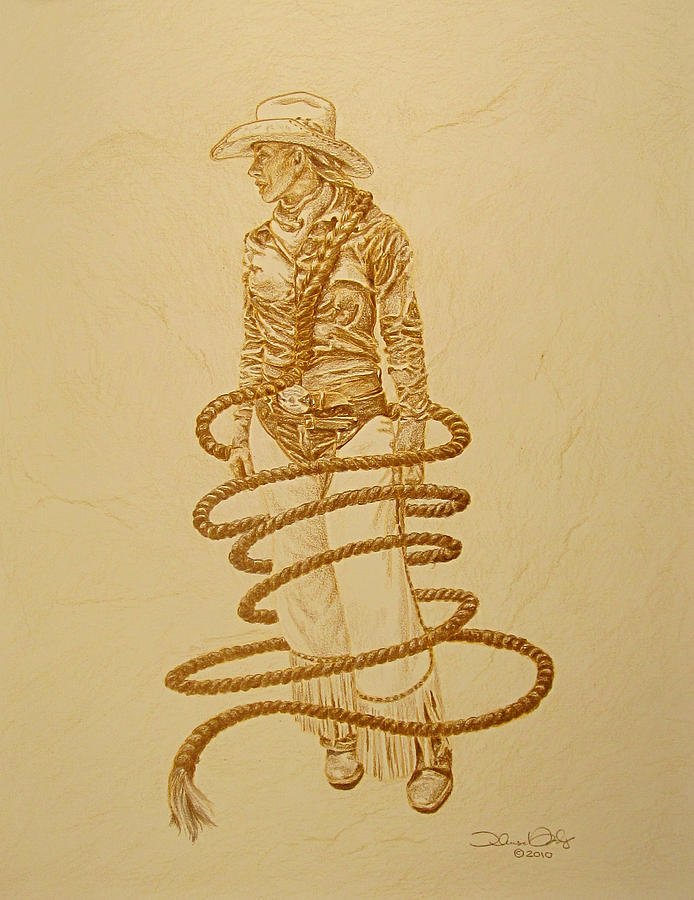 Cowgirl Drawing - A Cowgirls Rope-Signed Prints Available by Theresa Higby