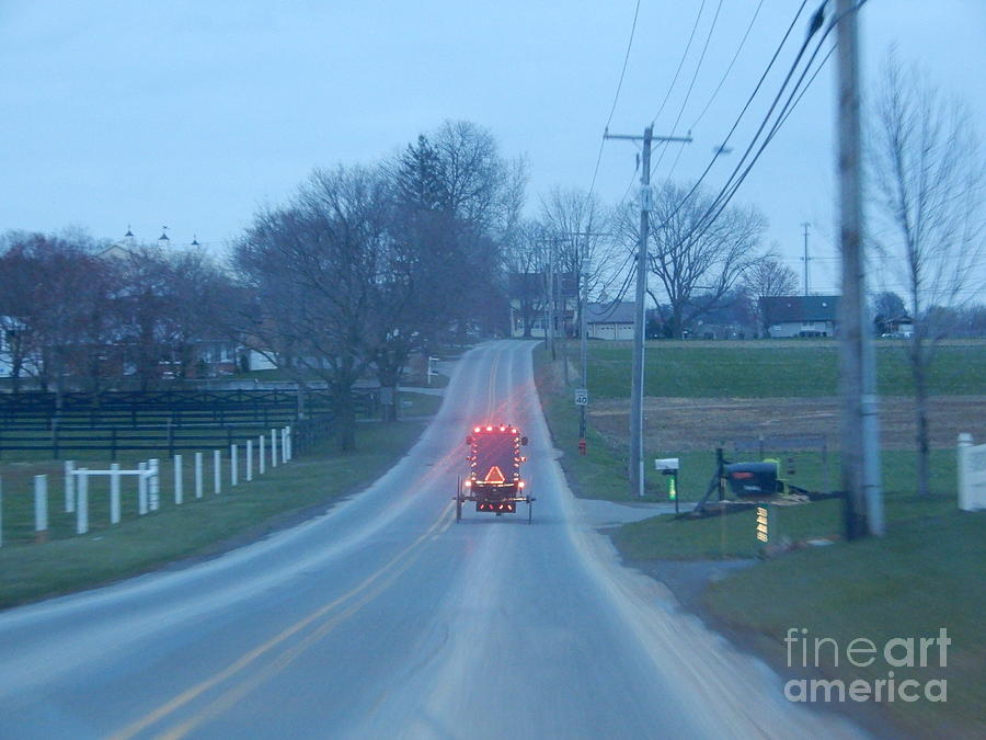 Amish Photograph - A Cozy Buggy Ride Home by Christine Clark