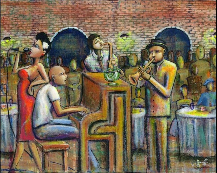 Jazz Painting - A Damn Good Night by Nelson Perez