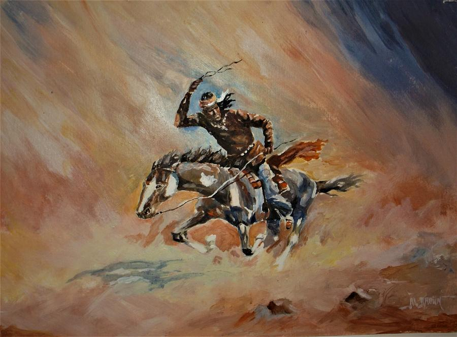 American Indian Painting - A Dash For Cover Racing Oncoming Sandstorm   by Al Brown