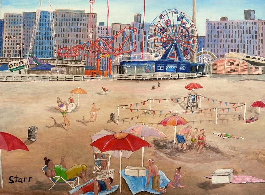 Coney Island Painting - A Day At The Beach by Irving Starr