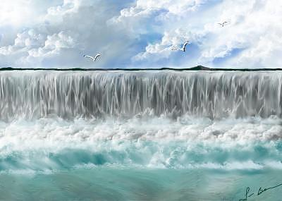 Waterfalls Painting - A Day At The Falls by Lori Barnes