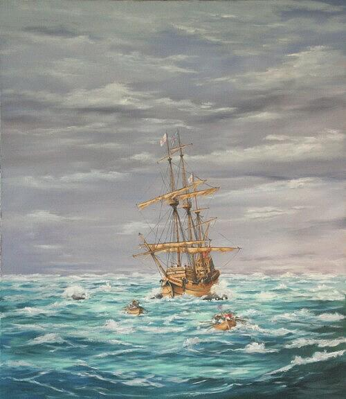 Marine Painting - A Day In History July 28th 1609 by Christopher Grimes