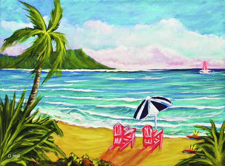 Diamond Head Painting - A Day In Paradise #354 by Donald k Hall