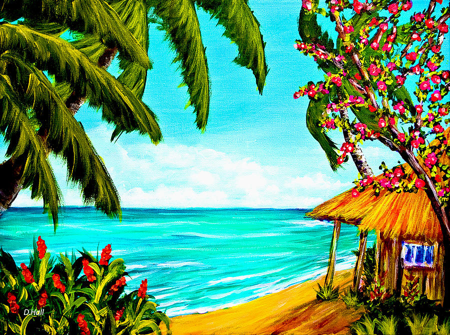 Painting Painting - A Day In Paradise Hawaii Beach Shack  #360 by Donald k Hall