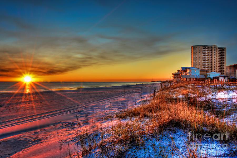 A December Beach Sunset Photograph