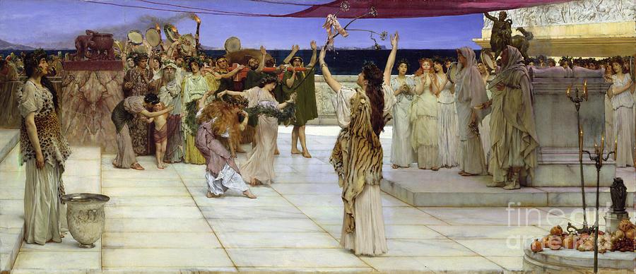 Dedication Painting - A Dedication To Bacchus by Sir Lawrence Alma Tadema