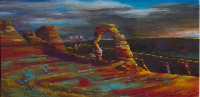Delicate Arch Painting - A Delicate Dusk by David Knox