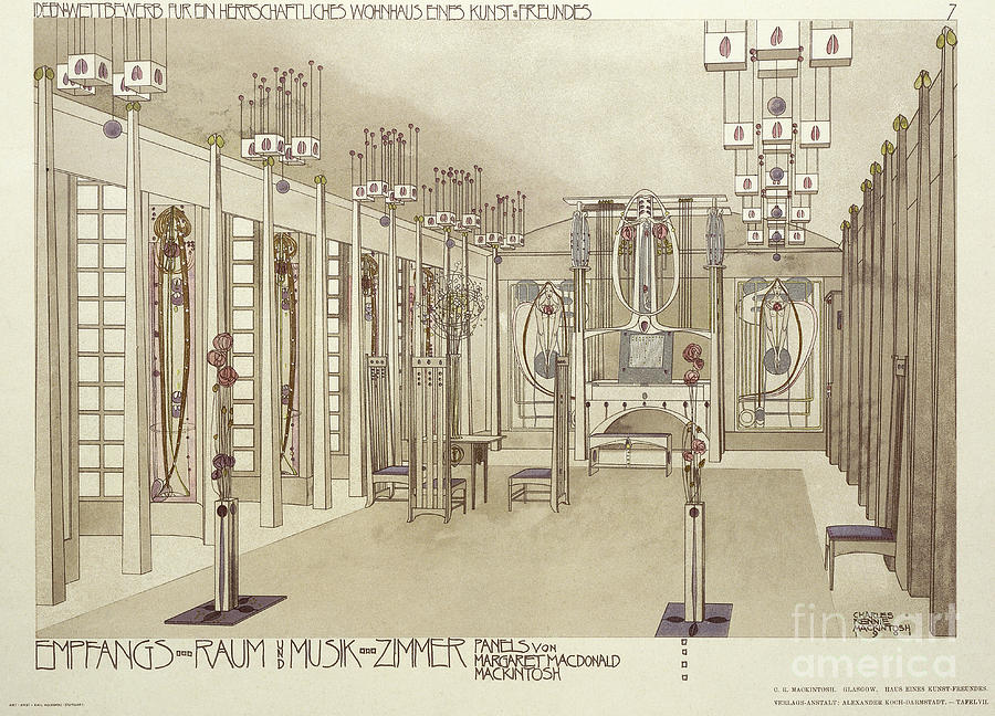 20th Century Drawing - A Design For A Music Room by Charles Rennie Mackintosh