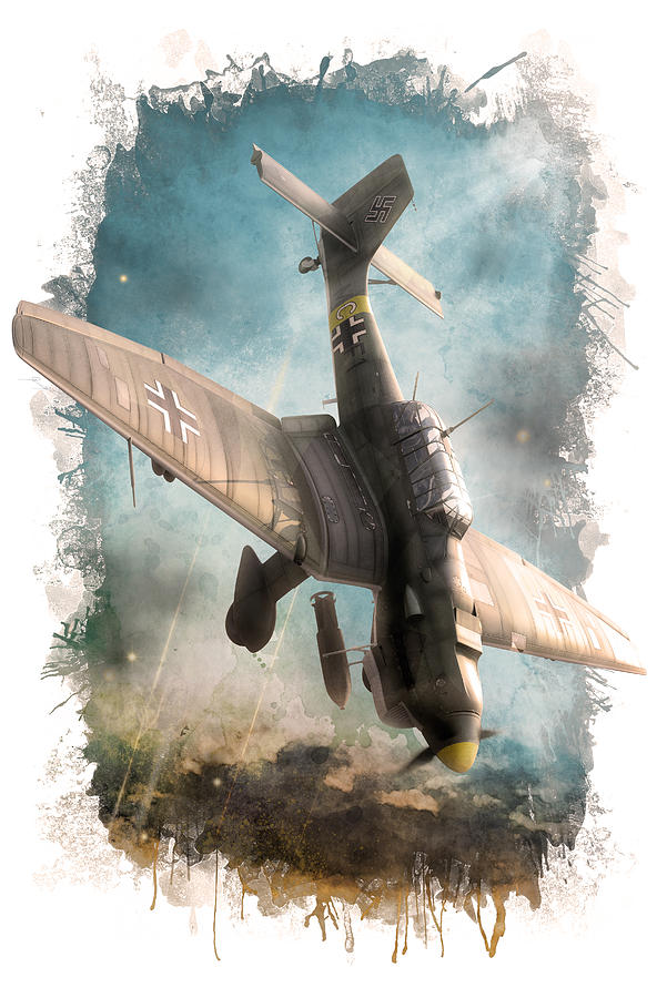 Junkers Digital Art - A Dive In Hell by Gino Marcomini
