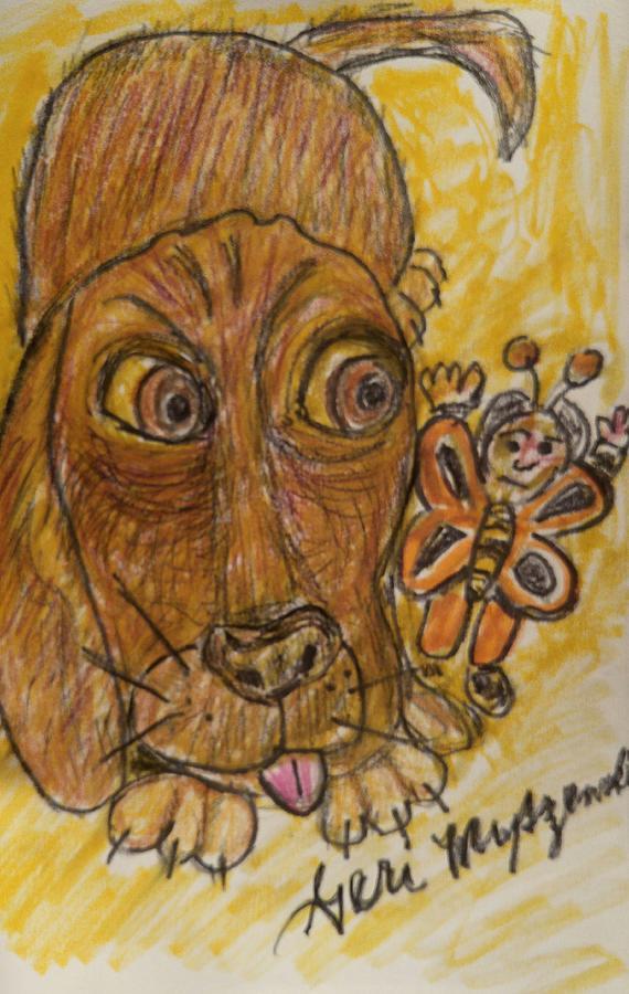 Dog Painting - A Dog And Its Bumblebee by Geraldine Myszenski