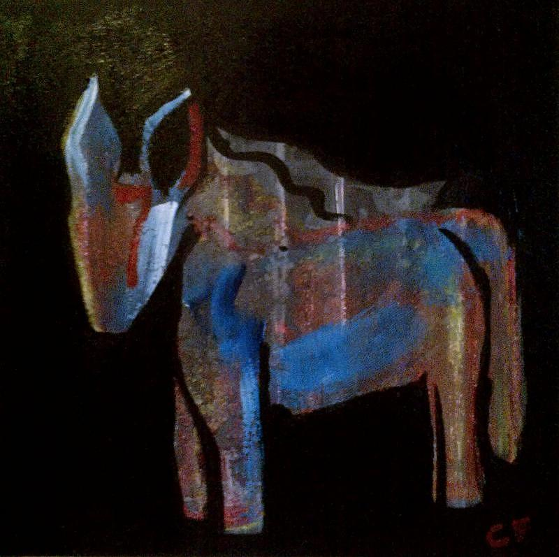 Acrylic Paint On Canvas Painting - A Donkey Named Frog by Celeste Fourie