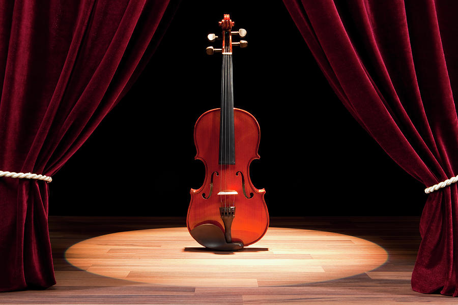 Horizontal Photograph - A Double Bass On A Theatre Stage by Caspar Benson