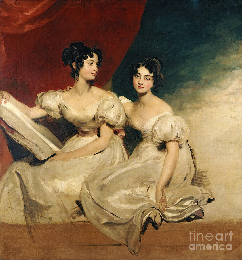 Double Painting - A Double Portrait Of The Fullerton Sisters by Sir Thomas Lawrence