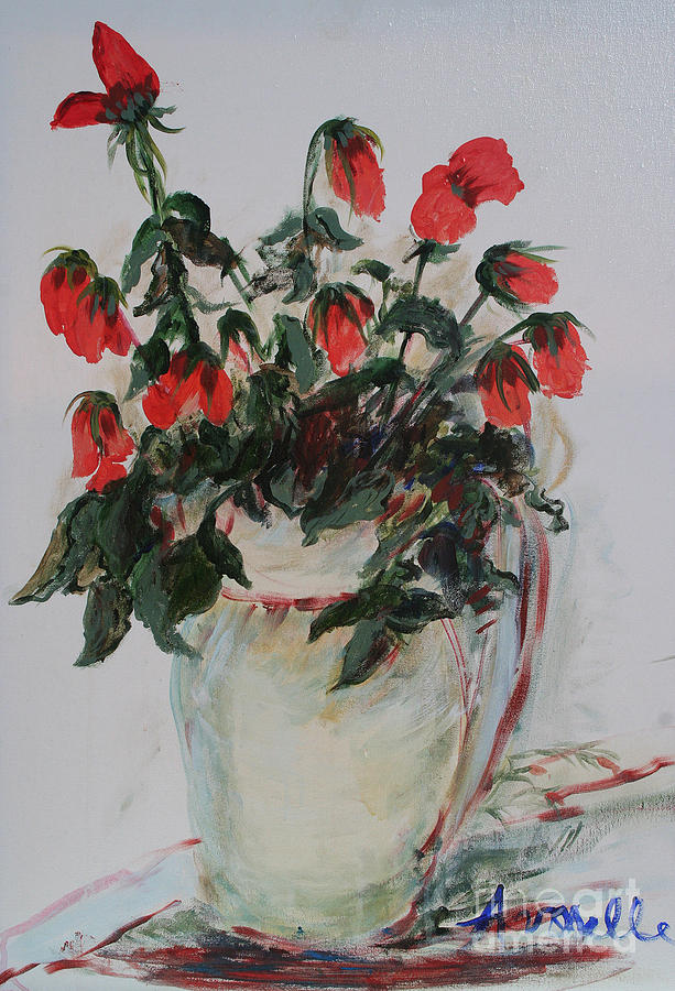 Roses Painting - A Dozen Red Roses by Avonelle Kelsey