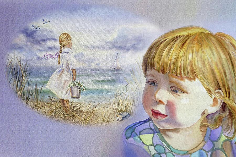 Girl Painting - A Dream Of An Ocean by Irina Sztukowski