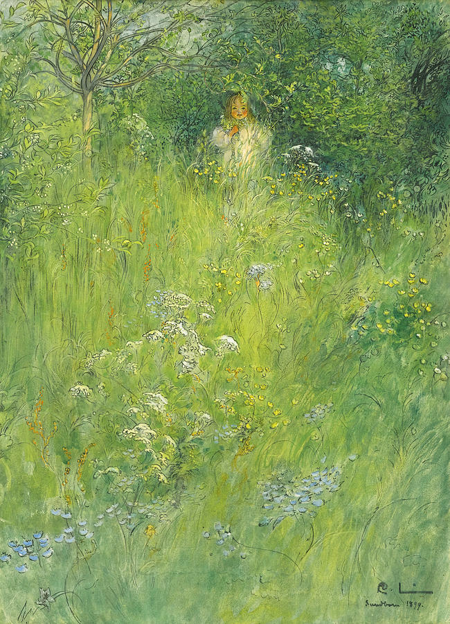 Carl Larsson Drawing - A Fairy. Kersti In The Meadow by Carl Larsson