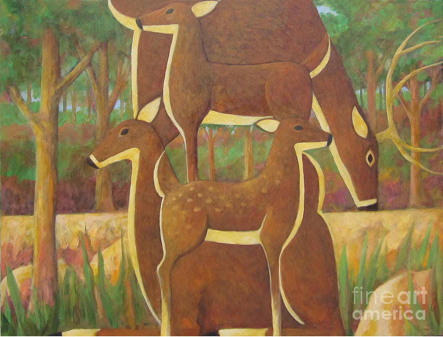 Deer Painting - A Family Of Deer by Glenn Quist