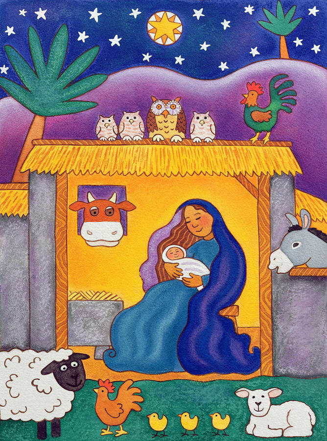 Moon Painting - A Farmyard Nativity by Cathy Baxter