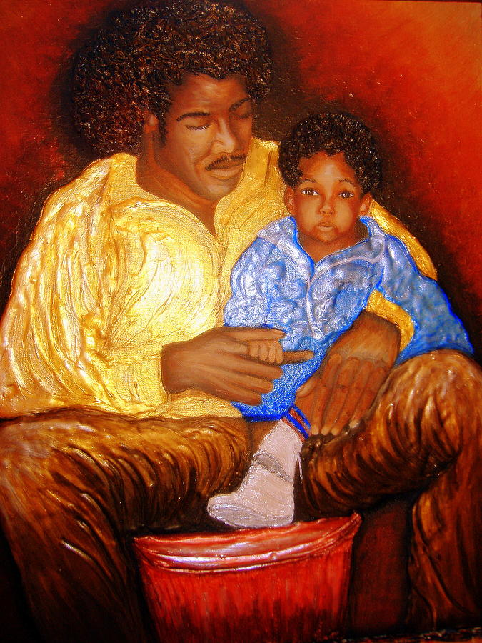 Portrait Painting - A Fathers Love by Keenya  Woods