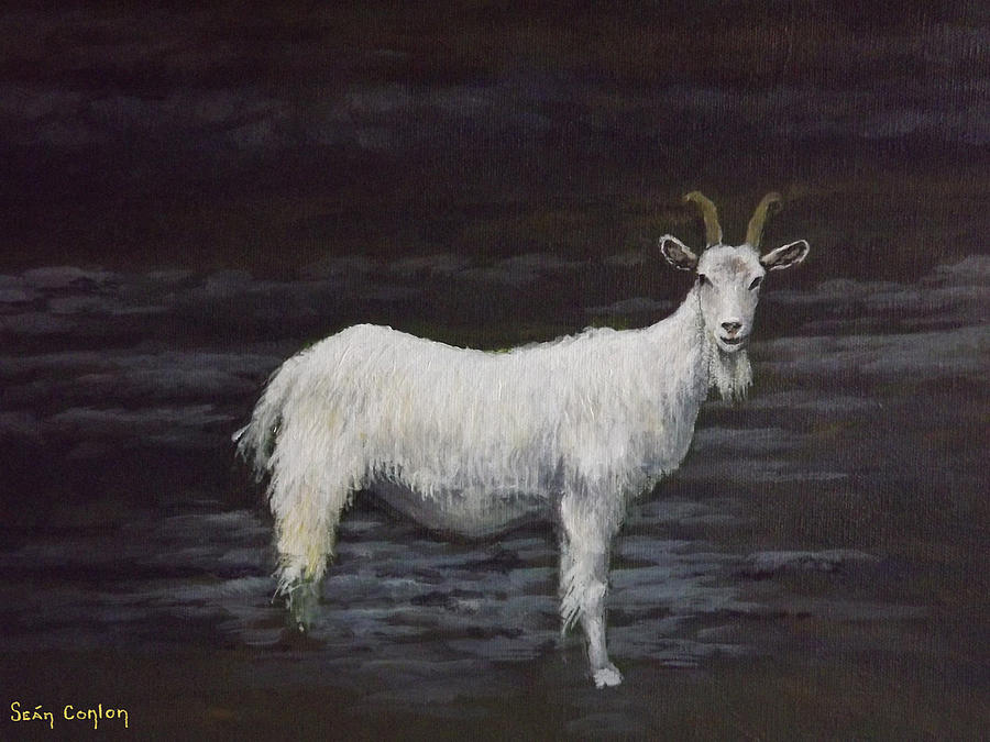 Landscape Painting - A Feral Goat On The Burren by Sean Conlon