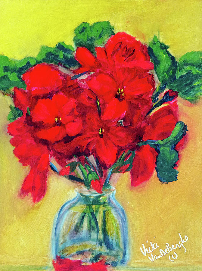 Artist Painting - A Few More Geraniums by Vicki VanDeBerghe