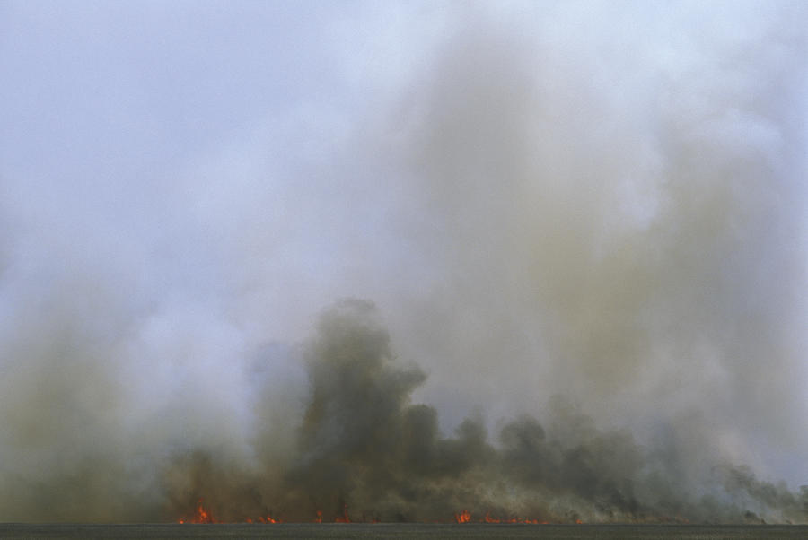 Fire Photograph - A Fire Burns In The Marsh On Ocracoke by Stephen Alvarez