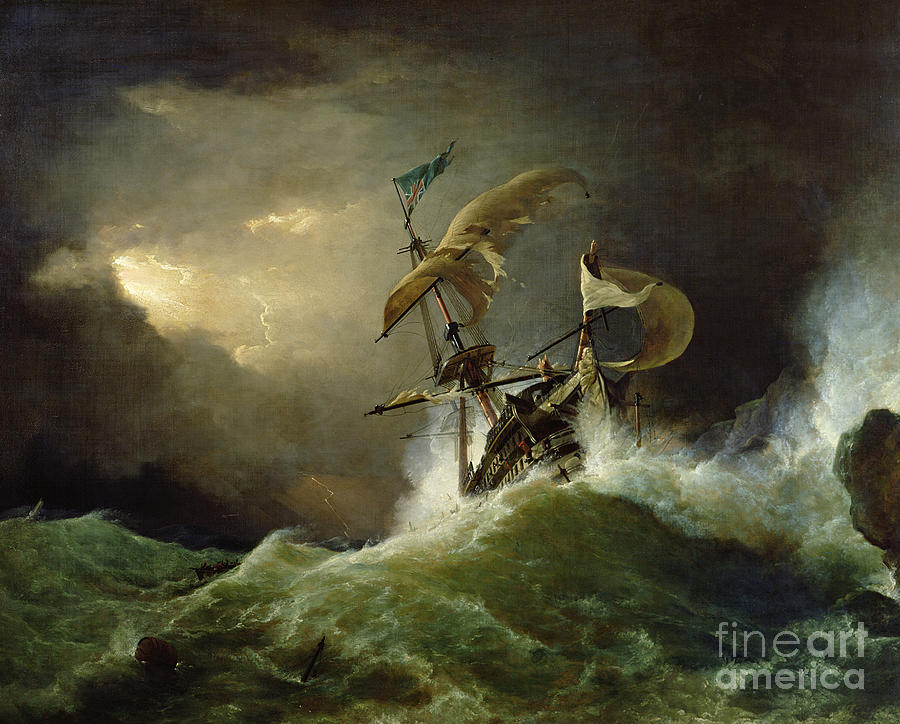 Storm Painting - A First Rate Man Of War Driven Onto A Reef Of Rocks, Floundering In A Gale  by George Philip Reinagle