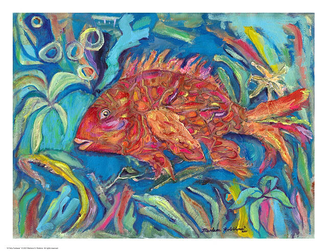 Water Scene Painting - A Fishy Fantasia by Marlene Robbins