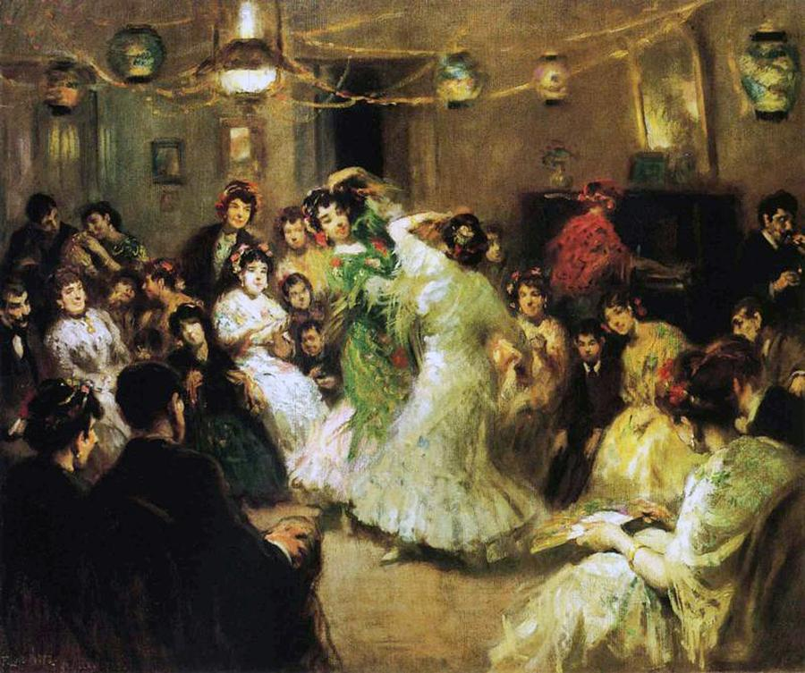 Part Painting - A Flamenco Party At Home by Francis Luis Mora