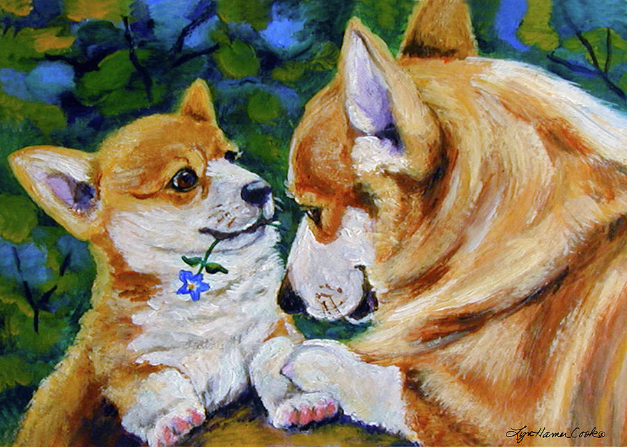 Corgi Painting - A Flower for Mom by Lyn Cook