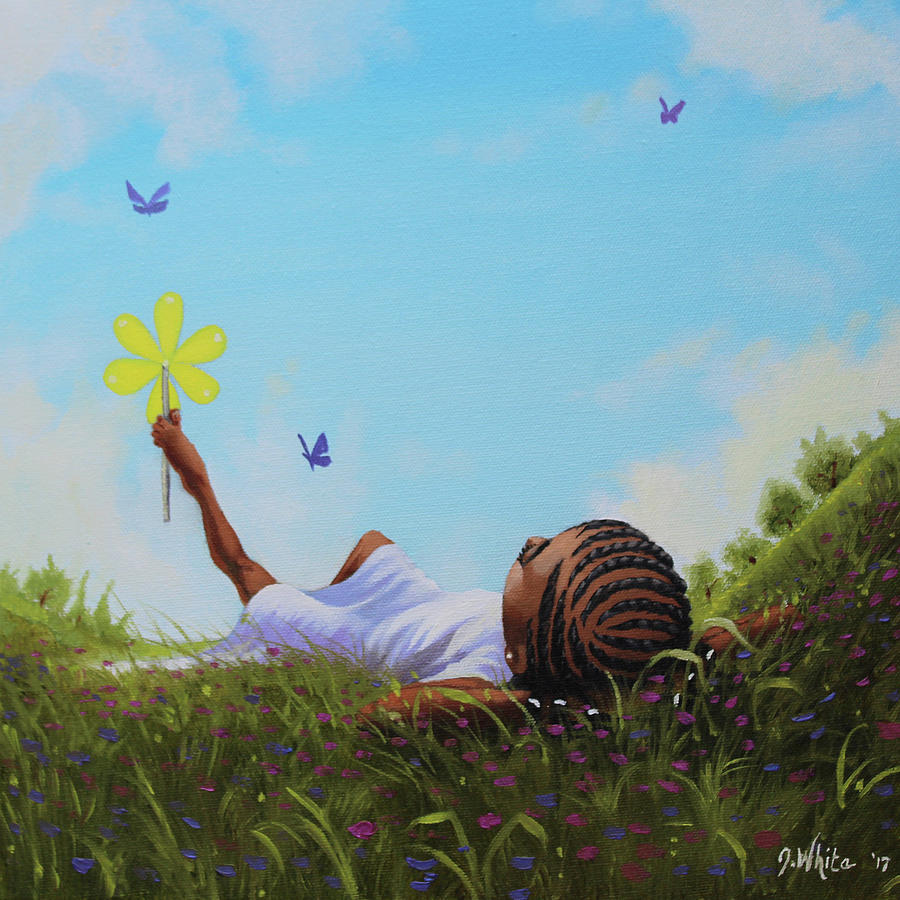 African American Painting - A flower in the sky by Jerome White