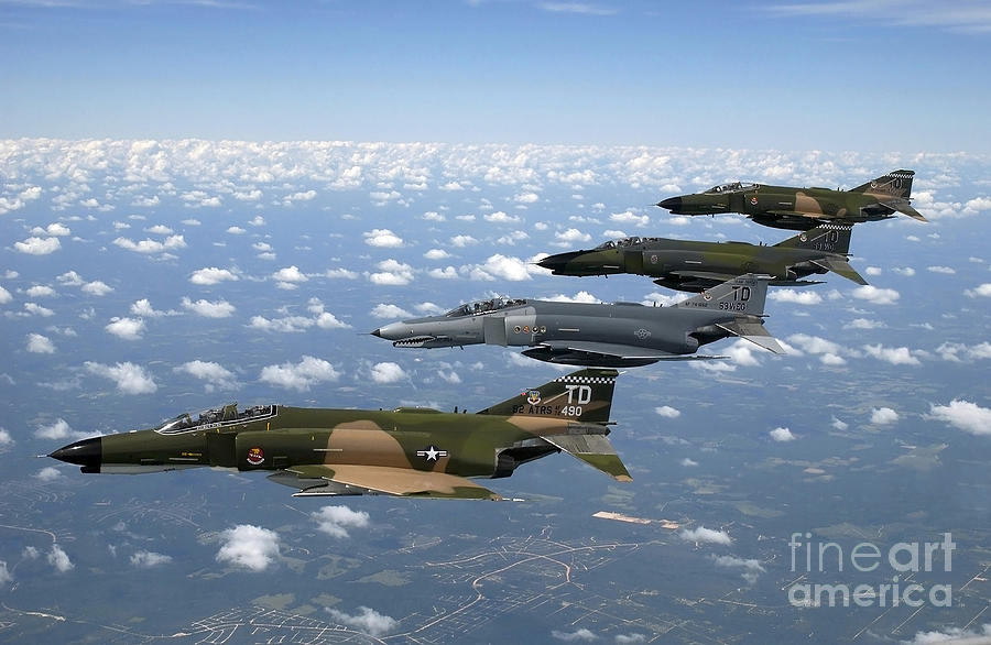 Horizontal Photograph - A Formation Of F-4 Phantom II Fighter by Stocktrek Images