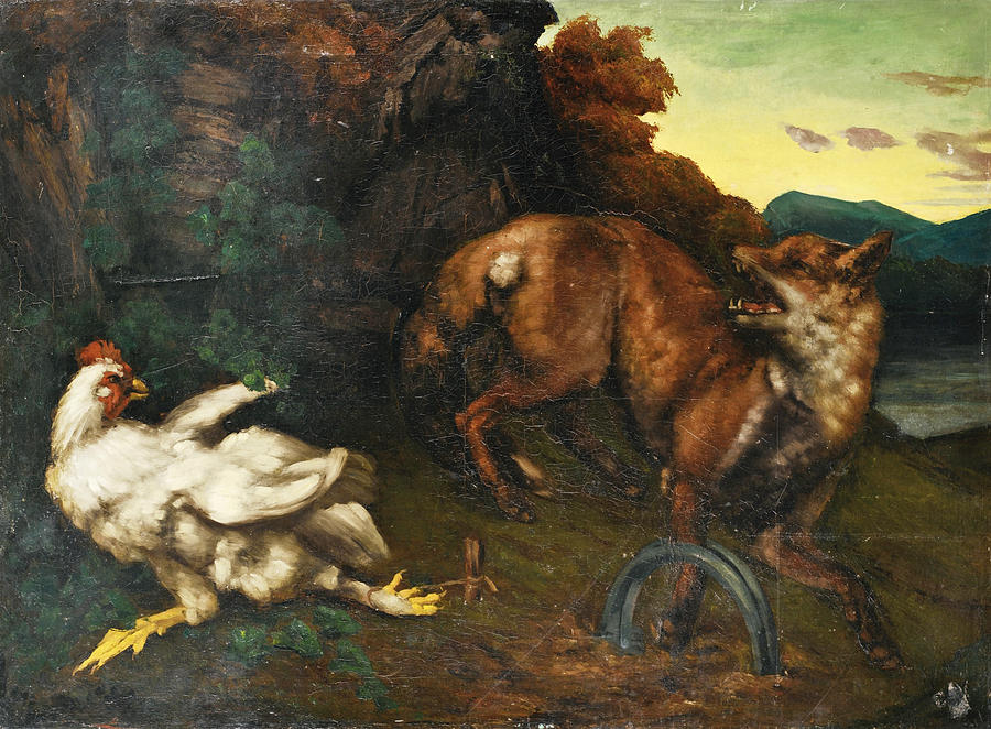 Gustave Courbet Painting - A Fox caught in a Trap by Gustave Courbet