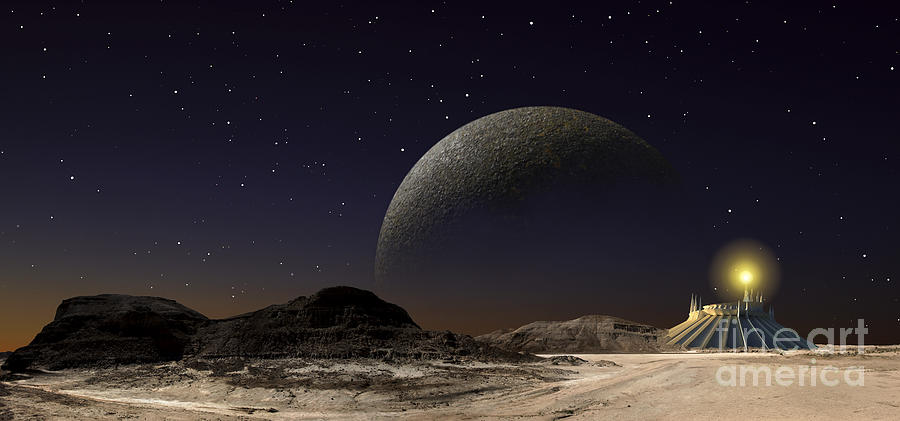 Sci-fi Digital Art - A Futuristic Space Scene Inspired by Frank Hettick