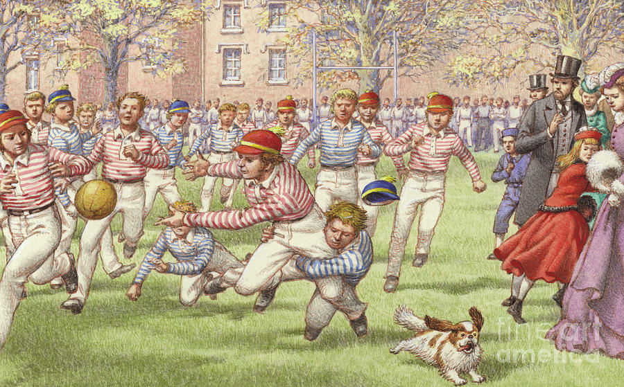 108c894c3ca A Game Of Rugby Football Being Played At Rugby School Painting by ...