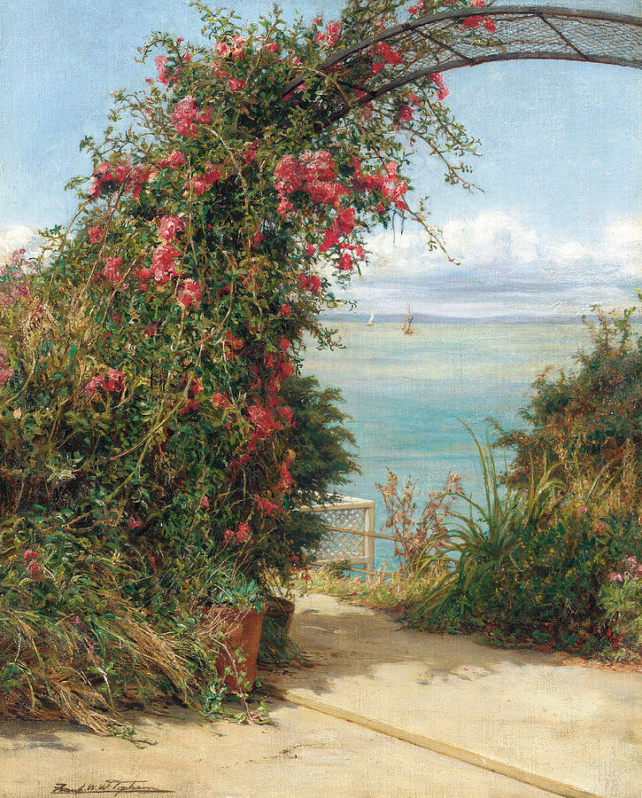 Seas Painting - A Garden By The Sea  by Frank Topham