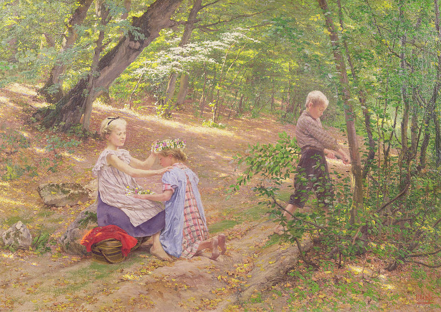 Garland Painting - A Garland Of Flowers by Frigyes Friedrich Miess