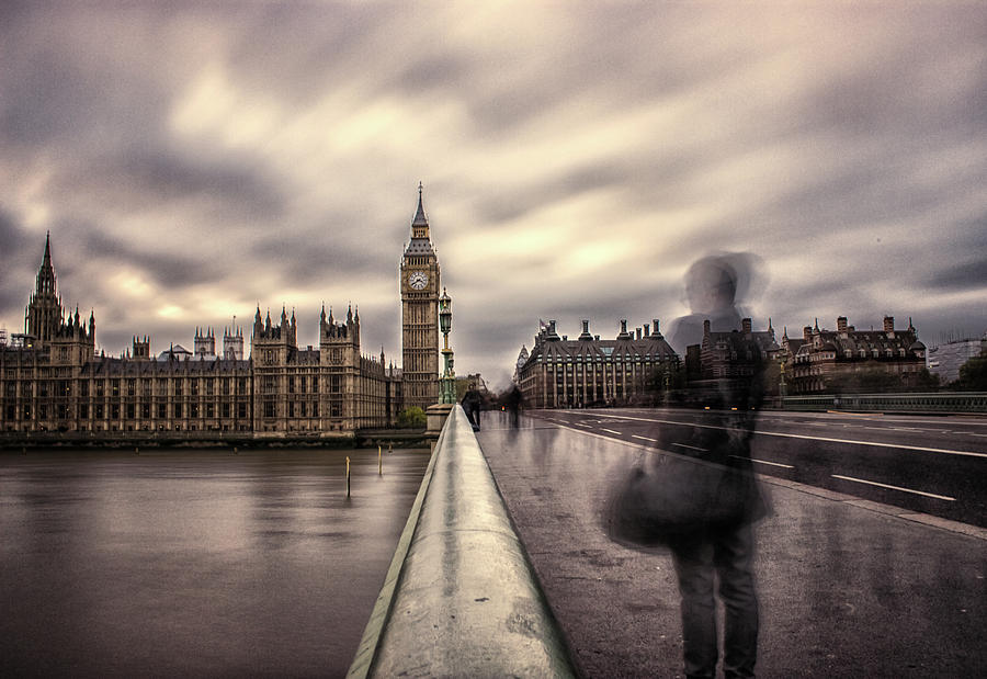 Westminster Photograph - A Ghostly Figure by Martin Newman