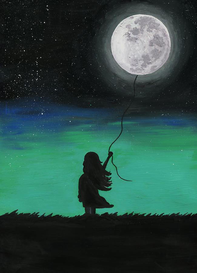 A Girl And Her Moon Painting By Annica Johnson