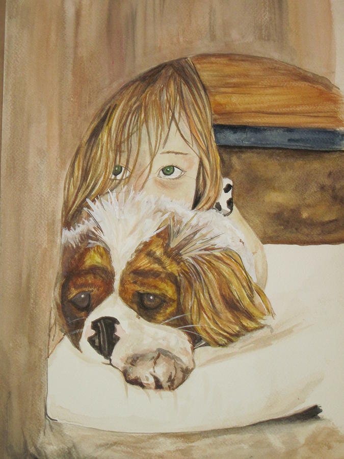 Watercolor Painting - A Girl And Her Puppy by Tabitha Marshall