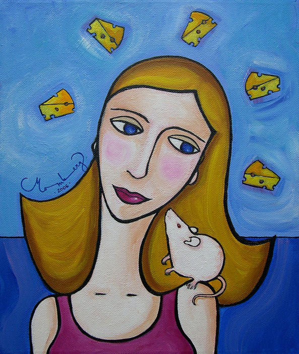 Girl Painting - a Girl And Her Rat by Karin Momberg