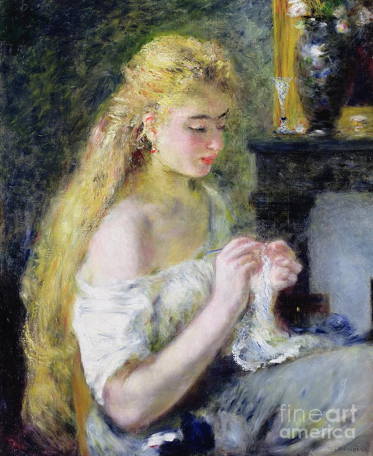 Pierre Auguste Renoir Painting - A Girl Crocheting by Pierre Auguste Renoir