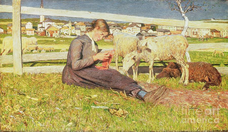 Girl Painting - A Girl Knitting by Giovanni Segantini
